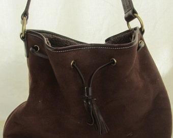 Dark brown suede satchel bag