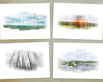 Virginia Landscapes - Set of 4 Prints - nature photography, sunset art, tree photography, James River, Richmond VA, Virginia photography