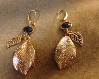 Gold filled leaves and navy blue stone earrings