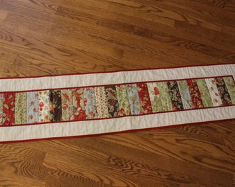Red and Cream Quilted Table Runner