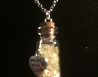 Citrine Filled Tiny Glass Vial Pendant with Sterling Silver Chain