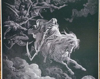 """Gustav Dore """"Death on a Pale Horse"""" from """"Dante's Inferno"""" 30x24"""""""