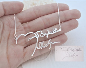 40% OFF* Signature Necklace - Handwriting Necklace - Memorial Personalized Jewelry - Bridesmaid Gifts - Memorial Gift - Mother's Gift