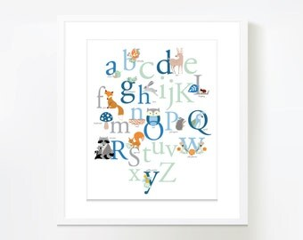 Woodland ABC theme Wall Art - Instant Download - blue, mint and grey
