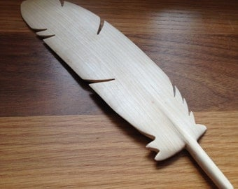 Hand Carved Feather from locally sourced wood