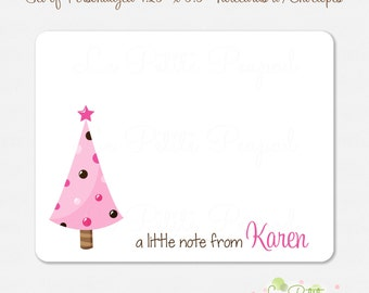 """10 Personalized 4.2"""" x 5.5"""" Note Cards - Thank You Cards - Pink Christmas Tree Notecard - Christmas Note Cards - kids notecards"""