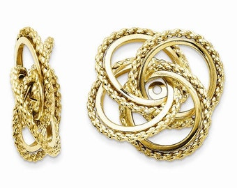 14K Yellow Gold Polished Twisted Love Knot Earring Jackets LKQT575J