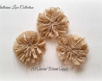 """Ballerina Lace Collection Flower - Tan - Lace Flower - Fabric Flower - Ciffon Flower - 2.8-3"""" - Lace Flower - DIY -Headband - Accessory"""