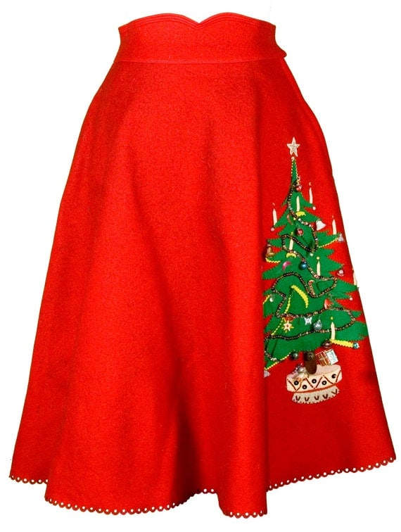 1950s small xs circle skirt poodle christmas tree a line holiday red