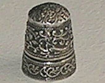 Antique Silver Thimble; Very Ornate