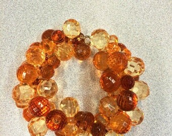 Amber Bracelet, fall colors, rust bracelet, festive bracelet, amber beads, honey beads, amber shiny beads, sparkling jewelry