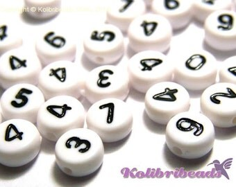 Round Acrylic Number Beads 7mm - Choice