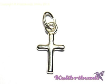 1 pc. Solid Sterling Silver Cross Charm 15 mm with sterling silver jump ring