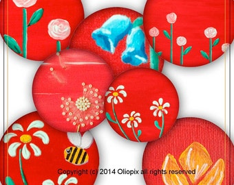 Spring Flowers Red Background 1-inch circles digital collage sheet 0006