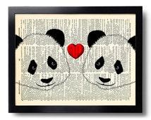 Panda Love  Art Print, Panda Bear Illustration, Panda Drawing Picture, Cute Panda Artwork, Pandas Poster, Panda Bear Wall Decor 418