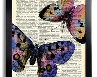 Butterflies Butterfly Art Print Vintage Book Print Recycled Vintage Dictionary Page Collage Repurposed Book Upcycled Dictionary 404
