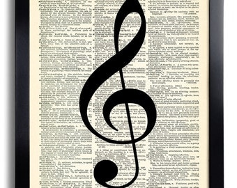Music Treble Clef Art Print  Book Print Recycled Vintage Dictionary Page Collage Repurposed Book Upcycled Dictionary 463