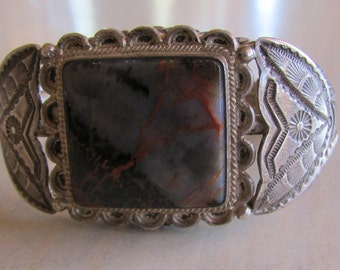 Vintage Sterling Silver and Petrified Wood Bracelet