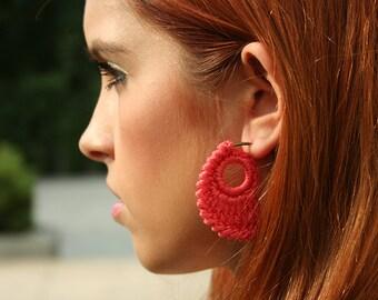 Crochet Hoop Earrings, in Melon / Coral