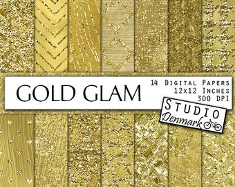 Gold Glam Textures - Luxe Gold Foil Digital Paper - Fashion Gold Glitter Patterns - Commercial Use Gold Foil Backgrounds - Instant Download