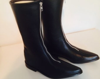Jod Winklepicker Boots in Black Leather