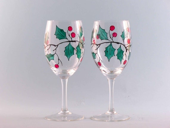 Holly wine glasses hand painted set of two by for Hand designed wine glasses