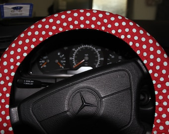 Red with White  Polka Dots Wheel Cover .Steering Wheel Cover .