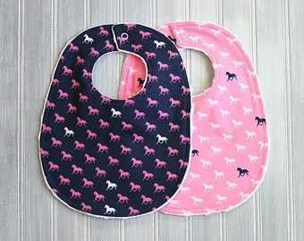 Pink and Navy Horse Bib Set - Set of 2 Minky Bibs - Baby Girl Pink with Light Pink and Navy Horses and Navy with Pink and White Horses Print