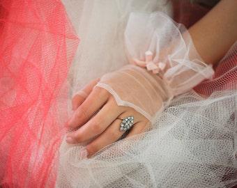 Pink Tulle Fingerless Gloves