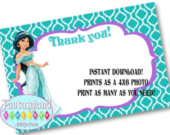 Jasmine Inspired Thank You Notes, Princess Party, Party Printables, 4x6 Thank You Card, Princess Birthday, Alladin