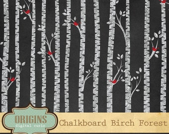 Chalkboard Birch Tree Forest Clip Art, Red Bird Silhouettes - birch tree silhouette PNG Clipart Set Commercial Use instant download