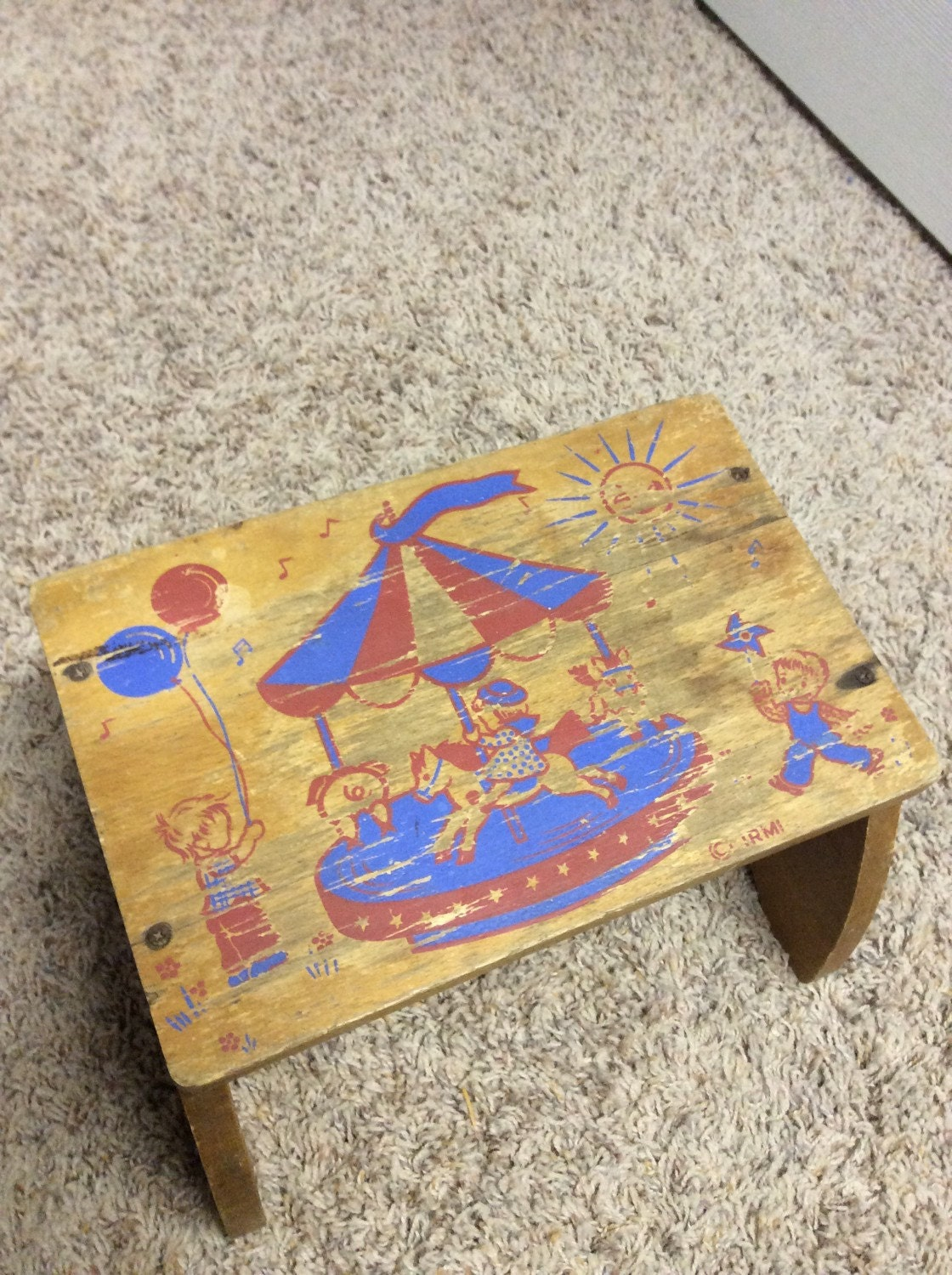 Cute vintage foot stool sturdy wood wooden irmi products