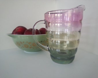 Vintage Mid Century Multi Color Banded Glass Pitcher