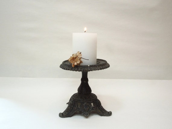 Antique cast iron cake stand candle holder dish french