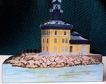 Toledo Ohio Lighthouse Lake Erie wood block collectible