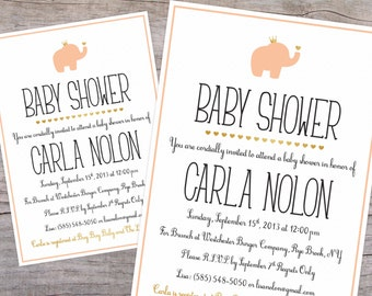 Royal Elephant Baby Shower Invitation with Free Shipping or DIY Printable