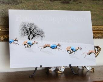 Whippet Winter Run Art (CL)