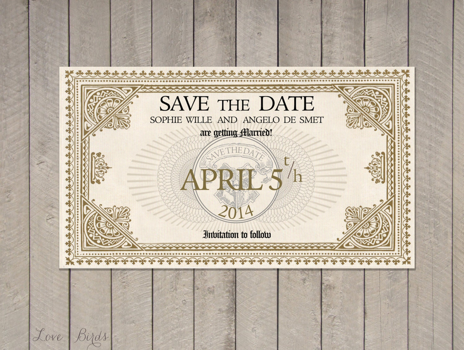 Wedding invitation Harry Potter Save the Date Train Ticket