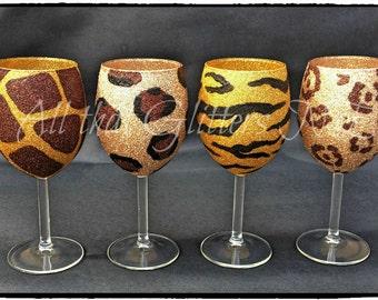 gorgeous glitter wine glasses set of 6 by allthatglittersne. Black Bedroom Furniture Sets. Home Design Ideas