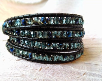 Leather Wrap Bracelet - Teal Blue Beads with Iris Finish, Boho Wrap Bracelet, Vegan Wrap Bracelet