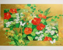Butterflies and Floral Designs - Rin-Pa - Foil Based Fine Art Lithographs - Vintage - Collectible by Tatsuo Ito - Professional Grade