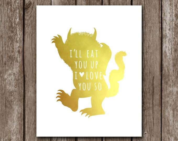 where the wild things are i ll eat you up i love you so nursery decor. Black Bedroom Furniture Sets. Home Design Ideas