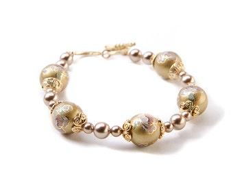 Gold bracelet her Wife statement gift Under 30 Xmas gift bracelet Everyday bracelet Beaded gold bracelet her Office bracelet
