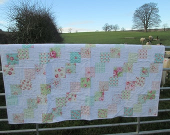 Handmade patchwork quilt, country style, traditional patchwork, vintage look. Perfect for a bed or sofa, a lovely present.