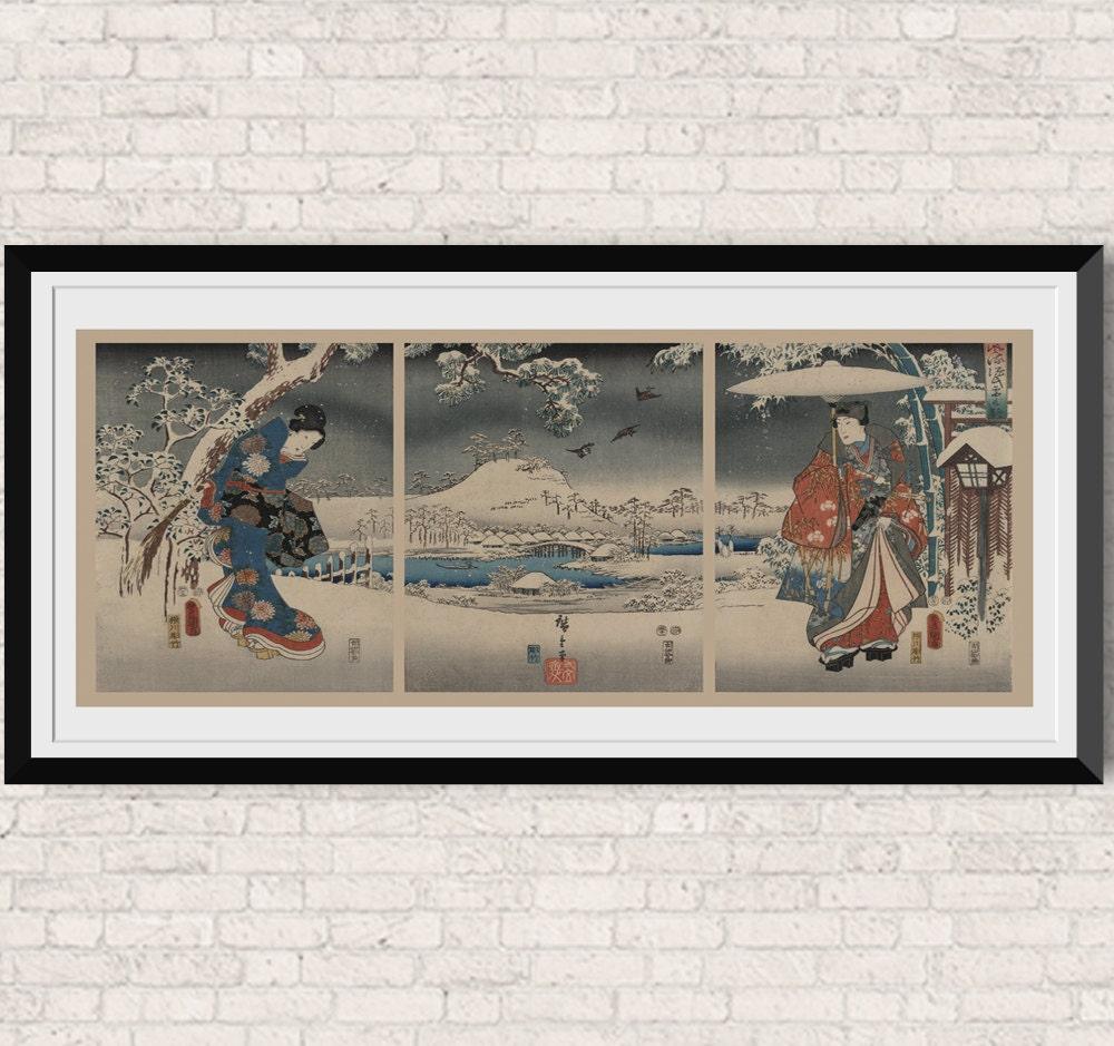 japanese wall art headboard assian art vintage inspired. Black Bedroom Furniture Sets. Home Design Ideas