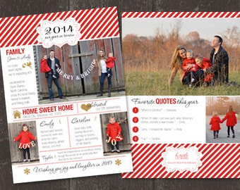 Year in Review Holiday Christmas Card - Customize number of children in layout - print ready file OR printed on card stock and mailed