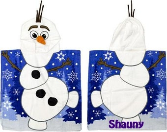 FROZEN Snowman inspired Hooded Beach Towel Hooded Poncho Personalized
