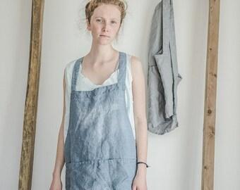 Swedish blue square cross short linen apron/japanese style apron