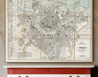"Map of Vienna 1852, Vintage Vienna map, 4 sizes up to 45x36"" (110x90cm) Large wall map of Vienna (Wien), Austria - Limited Edition of 100"