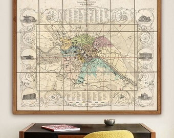 """Map of Berlin 1841, Vintage Berlin map in 4 sizes up to 43x36"""" (110x90cm) Large wall map of Berlin, Germany - Limited Edition of 100"""